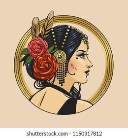 Pretty tribal dancer in beautiful headpiece. Vector hand drawn illustration