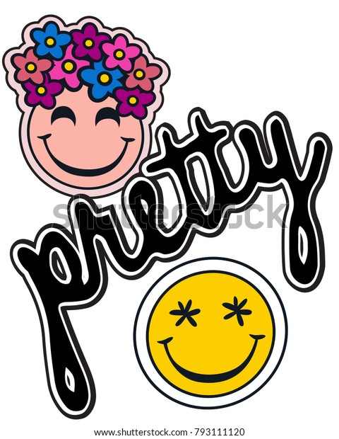Pretty Typography Design Emoji Patches Vintage Stock Vector
