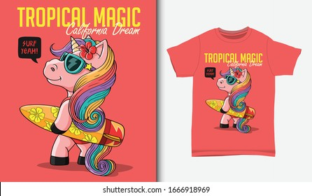 Pretty unicorns carrying surfboards illustration, with t-shirt design, Hand drawn