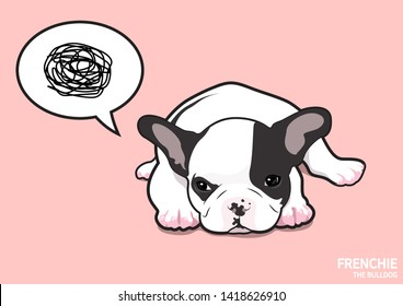 A pretty upset Frenchie.  A little french bulldog is in an angry mood, lie down with moody thinking balloon in pink background.