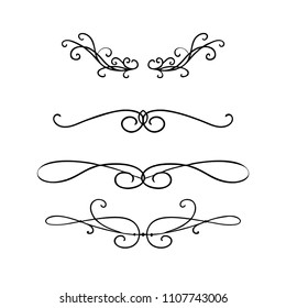 Pretty vector design elements of beautiful fancy curls and swirls dividers or underline designs in black ink lines for certificates and book chapter and wedding announcements
