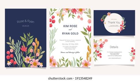 pretty watercolor wedding card collection