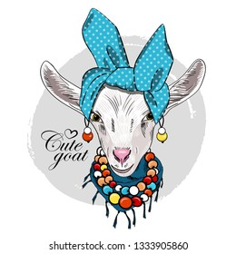 Pretty white goat with blue turban, earrings, necklace and scarf. Hand drawn illustration of dressed goat. Vector illustration.