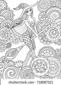 Pretty witch riding broom in the sky with floral clouds for halloween cards,invitations and adult coloring book page.