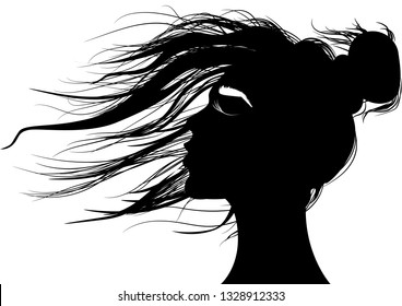 Pretty woman in black and white.Shadow drawing of a girl's head with hair playing in the wind.