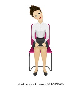 Pretty woman in business clothes is doing exercises for back on the office chair. Business woman in healthy tilt head to the side pose. Vector illustration.