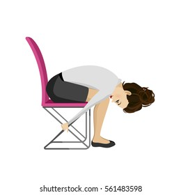Pretty woman in business clothes is doing exercises for back on the office chair. Business woman in healthy forward bend pose. Vector illustration.