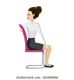 Pretty woman in business clothes is doing exercises for back on the office chair. Business woman in healthy twist pose. Vector illustration.