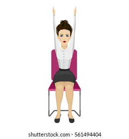 Pretty woman in business clothes is doing exercises for back on the office chair. Business woman in healthy hands up pose. Vector illustration.
