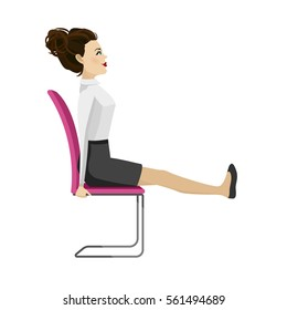 Pretty woman in business clothes is doing exercises for back on the office chair. Business woman in healthy strengthening legs pose. Vector illustration.