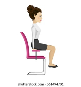 Pretty woman in business clothes is doing exercises for back on the office chair. Business woman in healthy strengthening of arm balance pose. Vector illustration.