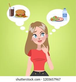 Pretty woman choosing between healthy food and unhealthy hamburger with soda. Hard decision. Junk food or diet. Vector flat illustration