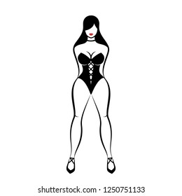 The pretty woman dressed in a black lingerie. An isolated vector illustration