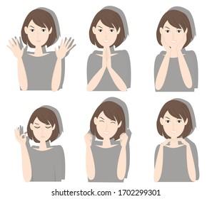 Pretty woman facial expression. Creative idea design. Flat vector illustration for template, brochure or presentation.