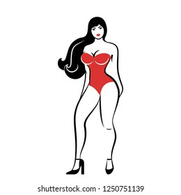 The pretty woman with long hair and dressed in a red combidress. An isolated vector illustration