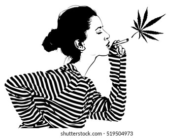 Pretty woman marijuana smoker. Black and white vector image.