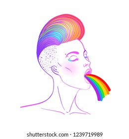Pretty woman puking rainbow. Hand drawn isolated illustration on white background. LGBT concept.