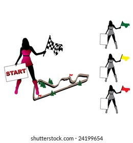 Pretty woman set with racing flag and tablet