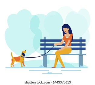 Pretty Woman Sits on Bench Along Walking Dog in Park. Beautiful Girl Thinking about Romantic Dating and Future Marriage. Loneliness and Need of Love Idea. Flat Cartoon Nature Vector Illustration