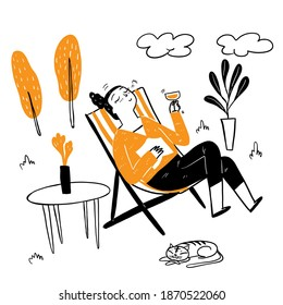 Pretty woman sitting in a deck chair drinking fancy cocktail, wearing a long sleeve shirt, big smile happy in a relaxed. Hand drawing vector illustration doodle style