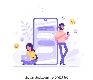 Pretty woman is sitting at her laptop and chatting with handsome man with huge phone and emoji on the background. Dating app and virtual relationship. Chat bubble. Modern vector illustration.