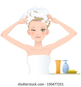 Pretty woman soaping her head on white background.File contains Gradients, Blending tool, Transparency, Clipping mask.