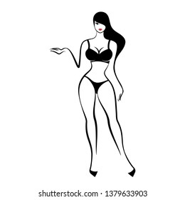 A pretty woman is standing in a black lingerie on a white background. Vector illustration