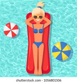 Pretty woman swims, tanning on air mattress in swimming pool. Girl floating on toy with ball isolated on water background. Inflatable circle. Summer holiday, vacation, travel Vector flat illustration