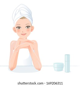 Pretty woman in towel smiling with skincare cosmetics after bath. File contains Gradients, Clipping mask, Blending tool.