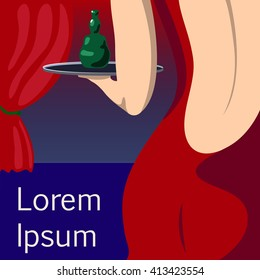 Pretty woman waitress in red evening dress vector illustration with place for text, woman in open back dress, sensual girl in evening dress, sexy waitress, bar girl with green bottle
