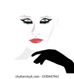 A pretty woman wears a stylish black glove.