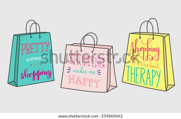 Pretty Women Go Shopping Shopping Makes Stock Vector (Royalty Free