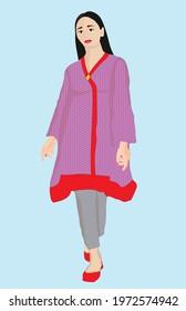 pretty women wearing long kameez and tight pajama