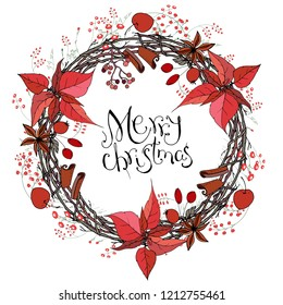 Pretty wreath with Christmas decoration. Round garland decorated with season festive elements. Calligraphy phrase Happy New Year. For season greeting cards, posters,advertisement. Vintage style.