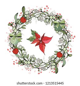 Pretty wreath with Christmas decoration. Round garland decorated with season festive elements. For season greeting cards, posters,advertisement. Vintage style.