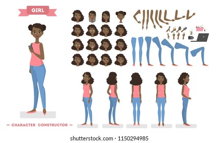 Pretty young african american female character set for animation with various views, hairstyles, emotions, poses and gestures. School equipment set. Isolated vector illustration