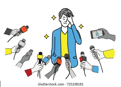 Pretty young celebrity in uniform of businessman, touching his hair, smiling, interviewed by journalist, news agent, press media, reporters. Outline, linear, thin line art design.