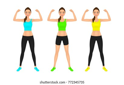 Pretty young fit woman showing her biceps. Smiling girl in sportswear. Isolated vector characters set.