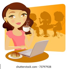 Pretty young girl with a computer in a bar, taking coffe with a cake