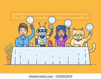 Pretty young girl, funny robot, happy young man,  and cute cat holding scorecards. Jury judges sitting at the table. Colorful cartoon characters. Flat outline vector illustration in modern style.