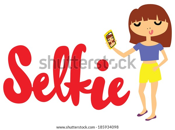 Pretty Young Girl Taking a Selfie Photo on Smart Phone with Selfie Type