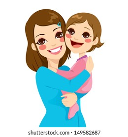 Pretty young mother holding and hugging her cute little daughter laughing