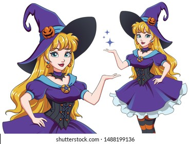 Pretty young witch. Announce Halloween Party. Hand drawn cartoon girl with blonde hair and blue eyes. Vector illustration for children games, invitation cards, design template etc.