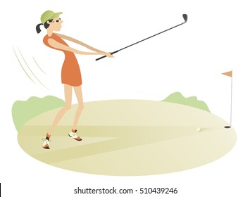Pretty young women is playing golf