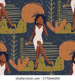 PrettyAfrican American Girl Seamless Vector Pattern. Black Beauty Hand Drawn Textured Tropical Summer Illustration. Female Black Woman Fashion Background.