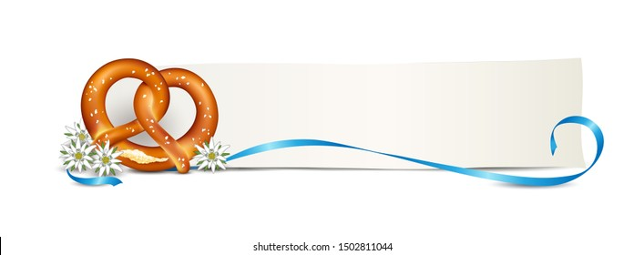 Pretzel with edelweiss and ribbon, Oktoberfest blank banner, Vector illustration isolated on white background