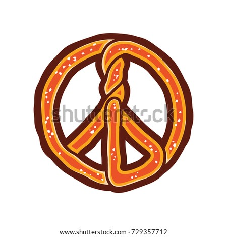 Pretzel Peace Symbol Layered Vector Illustration Stock Vector