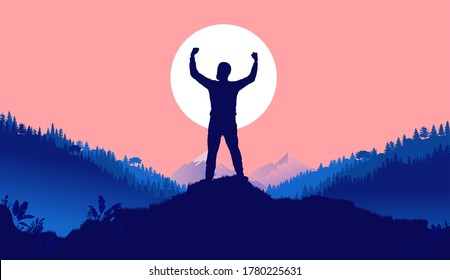 Prevail - Silhouette of man with raised hands in front of sun. Landscape, nature and mountains in background. Winner, conquer, mission accomplished concept. Vector illustration.