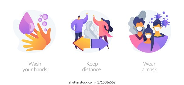 Prevent coronavirus spread abstract concept vector illustration set. Wash your hands, keep distance, wear a mask, virus exposure risk, social distancing, personal protection abstract metaphor.