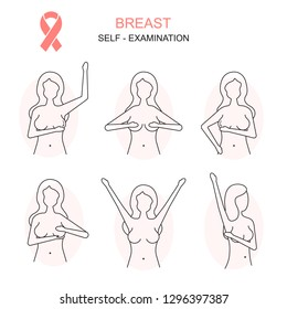 Prevention of Breast Cancer Thin Line Concept Card Poster Self Examination Diagnostic Female Health Care. Vector illustration